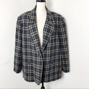Vintage Southern Lady Tartan Plaid Blazer 22W
